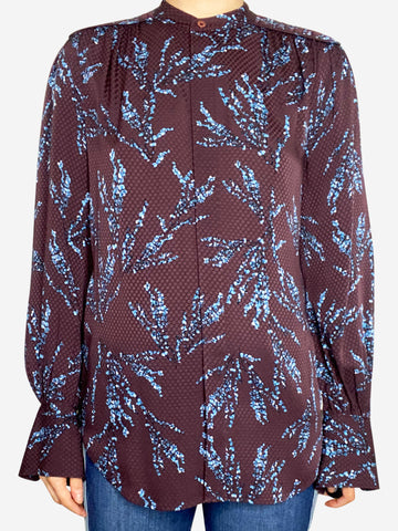 Burgundy and blue floral silk print blouse - size UK 10