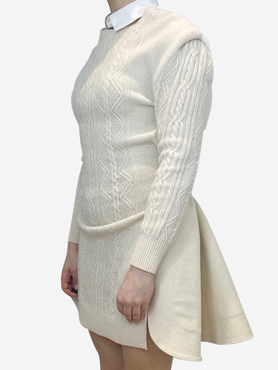 Crean knit panel dress with shirt collar back and detailing- size UK 10