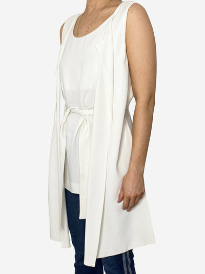 White sleeveless tie top - size UK 8