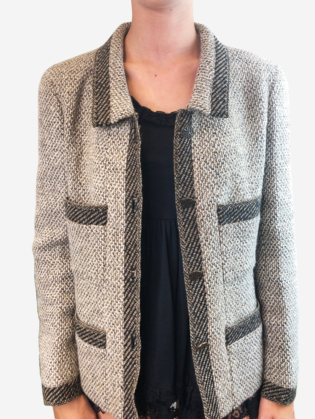 Chanel Brown Tweed Jacket Size 14 Chanel - Timpanys