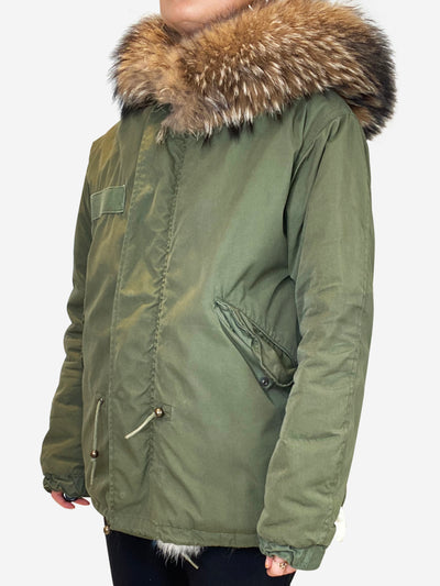 Khaki fur lined hooded parka - size XS