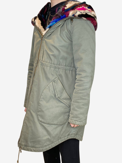 Khaki hooded park with multicolour fur lining - size UK 10