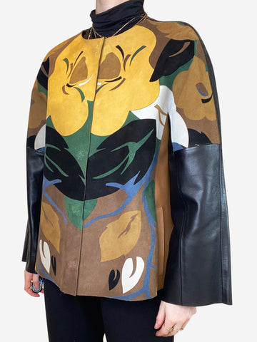 Leaf and floral suede leather jacket - size IT 44