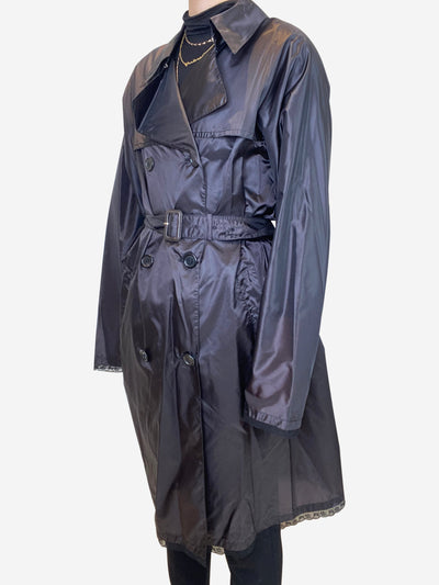 Black nylon raincoat with lace trim - size IT 42