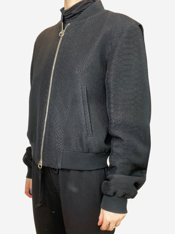 Black snake effect bomber jacket - size IT 44