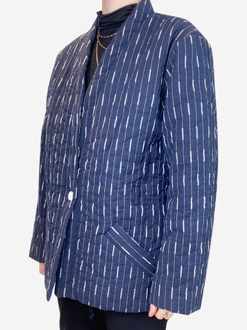 Navy striped padded jacket - size FR 38