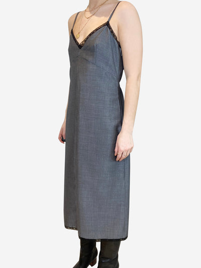 Grey slip dress with black lace trim- size UK 10