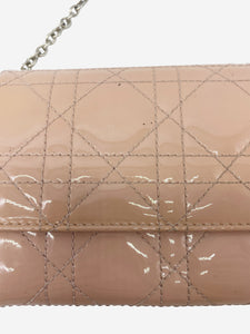 Dior Nude patent Cannage Lady Dior wallet on chain