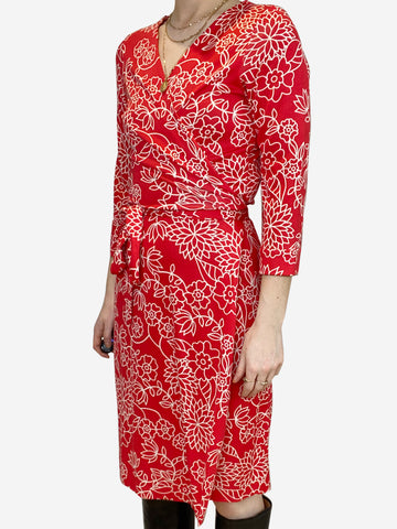 Red & white floral wrap dress - size UK 10