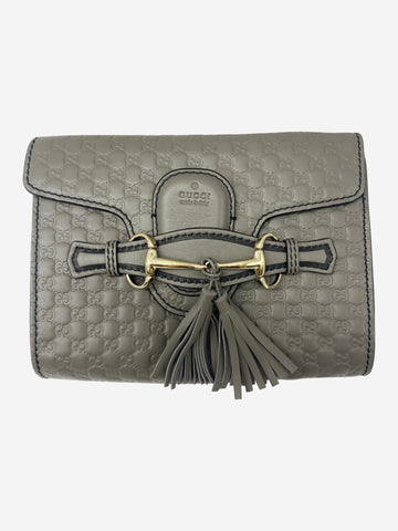 Grey Monogram horsebit and tassel crossbody bag