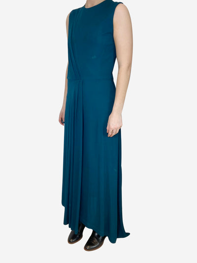 Teal sleeveless maxi dress with side slit- size UK 8