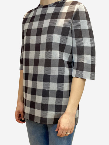 Brown short sleeve check mesh t-shirt- size M