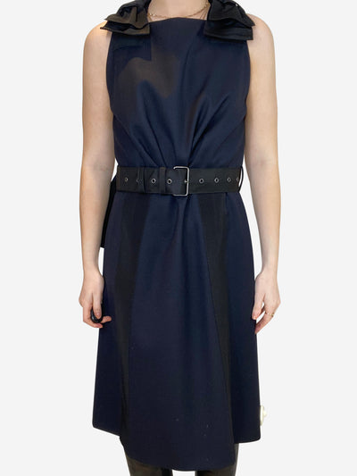 Navy slip dress with black bow accents- size UK 10