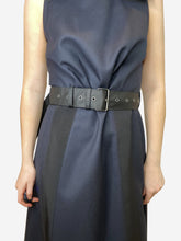 Load image into Gallery viewer, Navy dress with black bows and belted waist - size UK 10