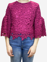 Load image into Gallery viewer, Fuscia lace embroidered blouse- size UK 12
