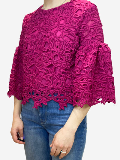 Fuscia lace embroidered blouse- size UK 12