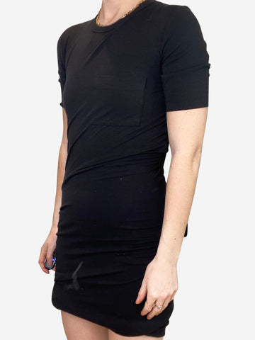 Black gathered t-shirt dress - size XS
