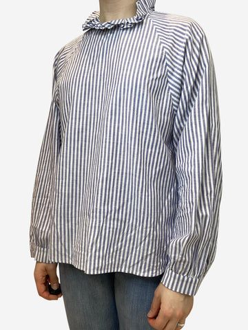 Blue and white striped blouse with ruched collar- size UK 12