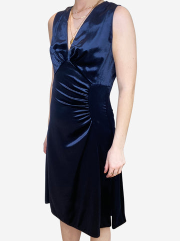 Navy velvet sleeveless flared midi dress- size UK 6