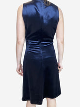 Load image into Gallery viewer, Navy sleeveless velvet midi dress - size UK 6