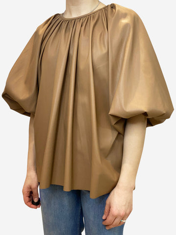 Brown faux leather ruched balloon blouse- size M