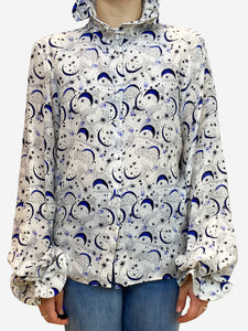 Catherine Prevost Crean and blue moon and stars print blouse- size M