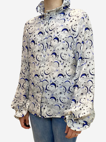Crean and blue moon and stars print blouse- size M