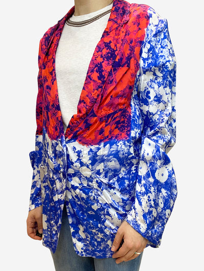 Blue and red floral silk blazer jacket- size UK 12