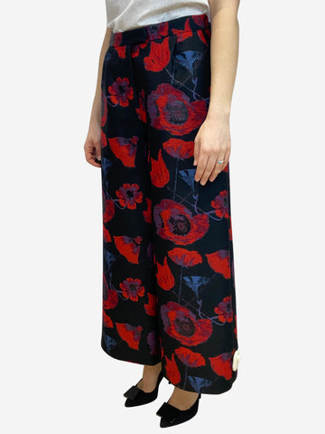 Black and red floral print jacquard trousers- size UK 12