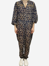 Load image into Gallery viewer, Navy and beige paisley print cotton jumpsuit- size UK 10