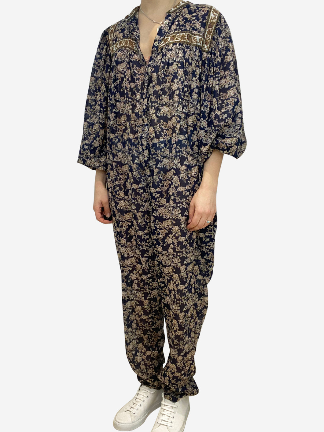 Navy and beige paisley print cotton jumpsuit- size UK 10