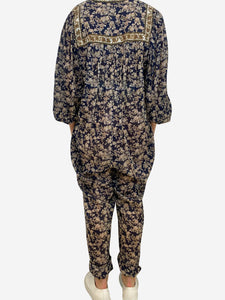 Isabel Marant Etoile Navy and beige paisley print cotton jumpsuit- size UK 10
