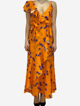 Load image into Gallery viewer, Orange and purple sleeveless asymmetrical floral print maxi dress- size UK 12
