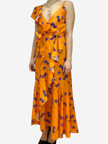 Orange and purple sleeveless asymmetrical floral print maxi dress- size UK 12