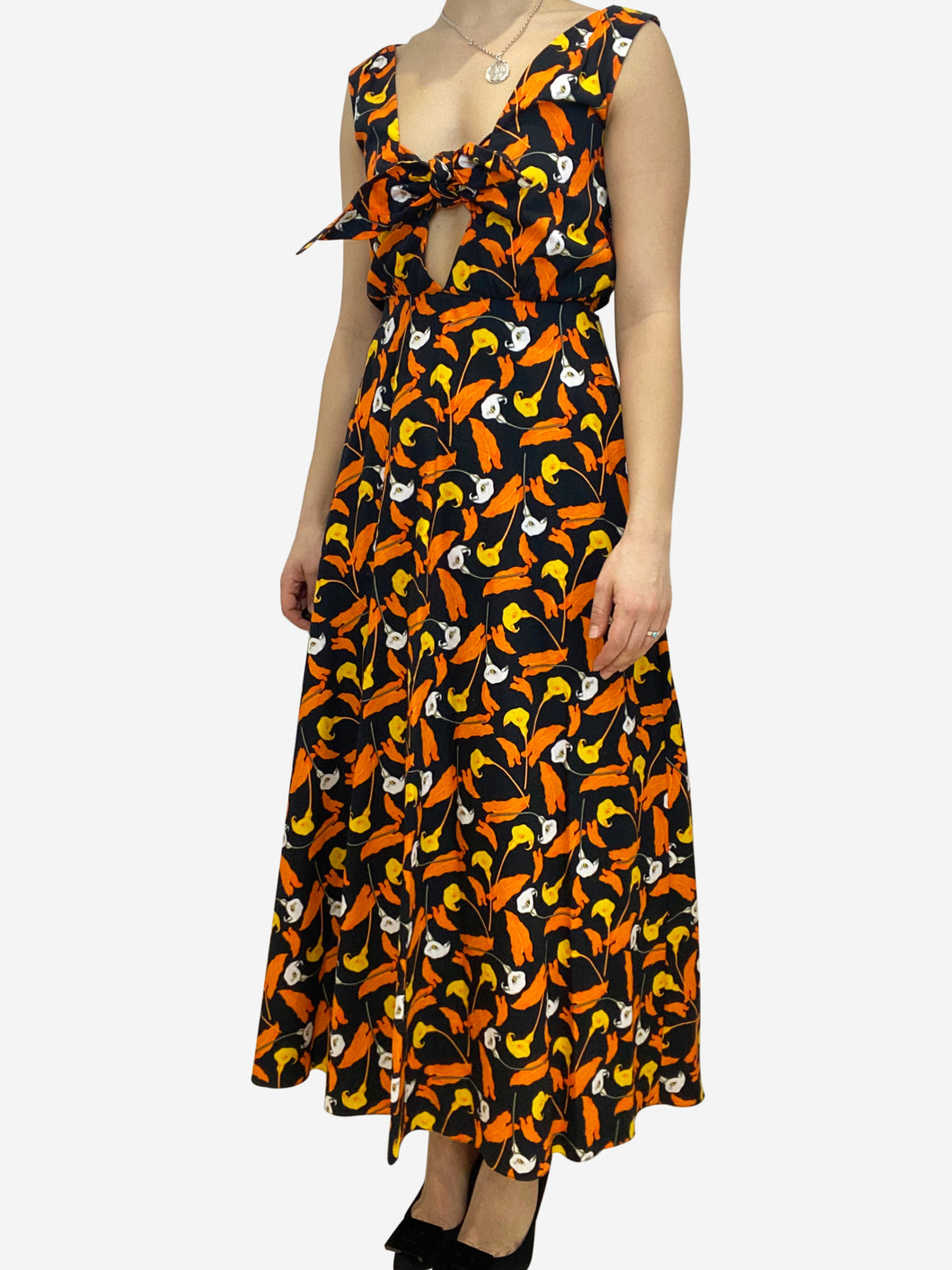 Black and orange tie front floral print dress- size UK 10