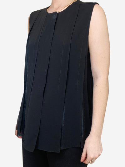 Black sleeveless pleated blouse - size IT 40