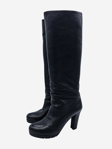 Black knee high leather boots - size EU 38