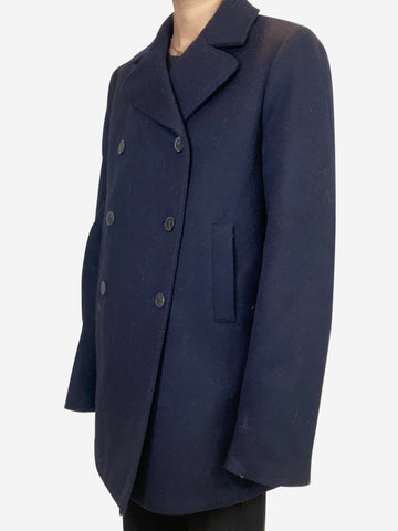 Navy merino wool pea coat - size UK 12
