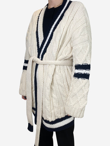Cream and navy chunky knit belted cardigan - size S/M