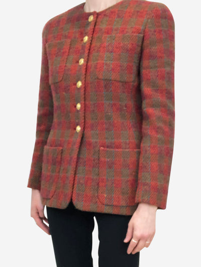 Red & green vintage woven check jacket - size 8