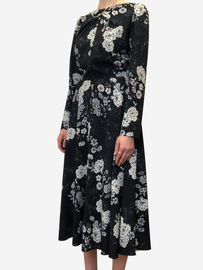 Black long sleeve floral midi dress - size UK 10