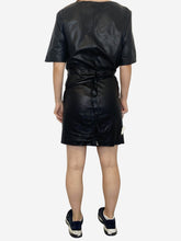 Load image into Gallery viewer, Falco black leather wrap up mini dress - size FR 36