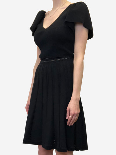 Black ribbed short sleeve dress - size S