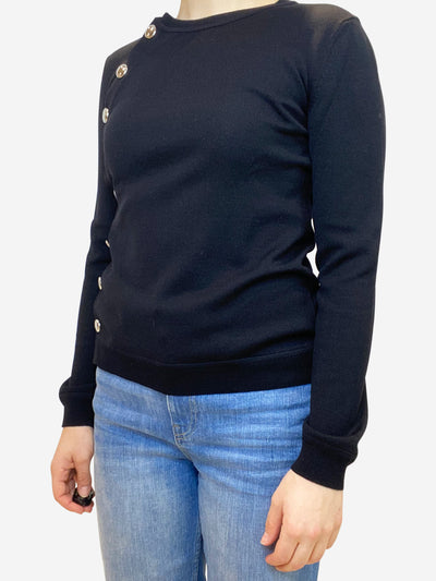 Black fine knit long sleeve top with asymmetric button through front closure- size S