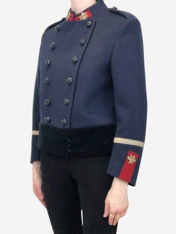 Navy military style jacket with embroidered bees - size IT 40