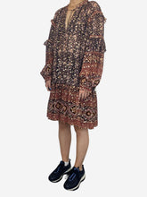 Load image into Gallery viewer, Brown and navy long sleeve frill dress with floral print - size UK 12