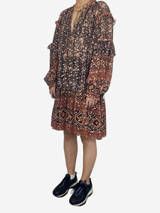 Brown and navy long sleeve frill dress with floral print - size UK 12
