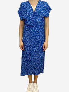 Sign of the Times Blue floral print midi dress with knot tie front- size UK 10