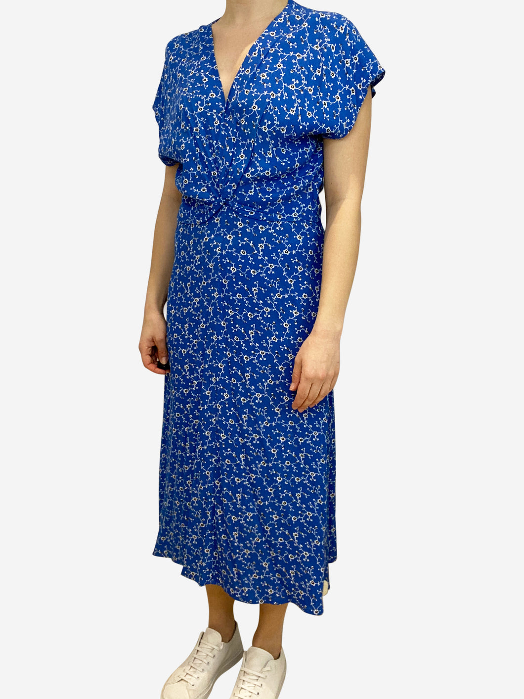 Blue floral print midi dress with knot tie front- size UK 10