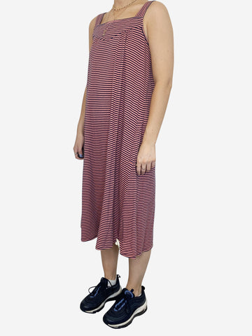 Pink and navy striped sleeveless dress - size S
